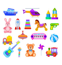 children toys guitar and car train and whirligig vector image
