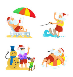 christmas elements holiday with santa vector image