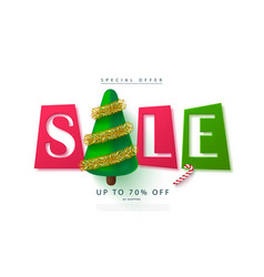 Christmas sale web banner holiday background with vector