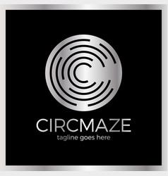 Circle maze logotype - letter c logo vector