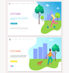 city park web poster with woman riding on roller vector image