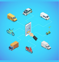 city transport infrastructure isometric poster vector image