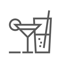 cocktail line icon vector image