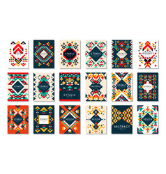 colorful set 9 card templates vector image