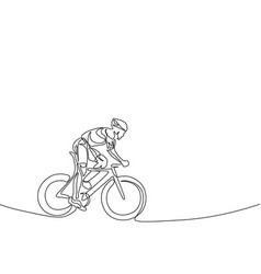 continuous one line cyclist in a helmet riding a vector image