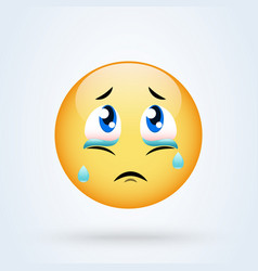 crying sad emoticon emoji sad vector image