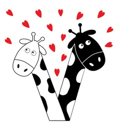 Cute cartoon black white giraffe boy and girl with vector image