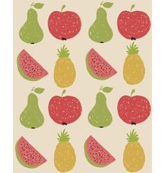 Doodle fruit pattern in retro colors vector