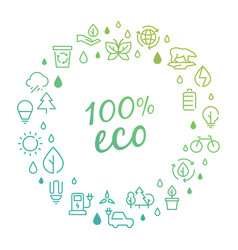 Eco products logo concept with line icons vector