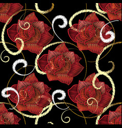 Embroidery red roses seamless pattern vector