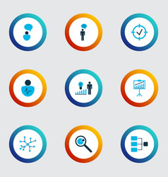 executive icons colored set with research vector image