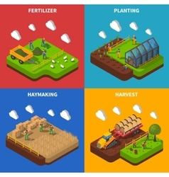 Farmer Isometric Concept Icons Set vector image