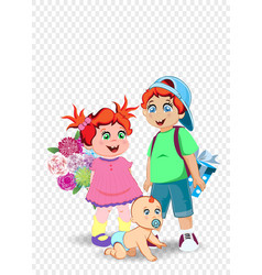 festive clip art of boy girl and baby for vector image