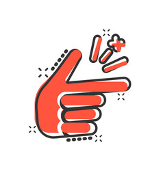 Finger snap icon in comic style fingers vector