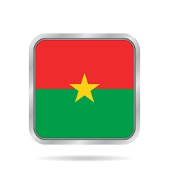 Flag of Burkina Faso Metallic gray square button vector image