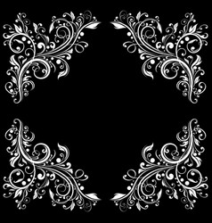 Floral filigree frame decorative design element vector