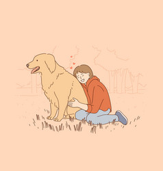 friendship children and pets concept vector image