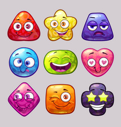 funny cartoon colorful glossy shapes characters vector image