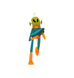 Funny green alien with blaster humanoid cartoon vector