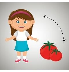 Girl cartoon tomato vegetable health vector