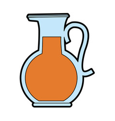 glass jug with beverage icon image vector image