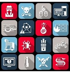 Hacker icons set flat vector