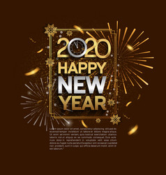 Happy new year 2020 golden and silver color vector