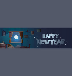 happy new year text in window from bedroom vector image