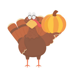 happy thanksgiving day turkey with pumpkin vector image