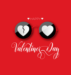 Happy valentines day red round glasses vector