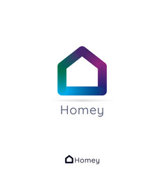 home house logo simple concept with 3d colors vector image