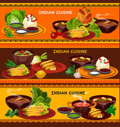 indian cuisine restaurant banner with thali dish vector image