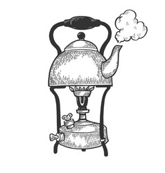 Kettle pot in primus stove sketch engraving vector