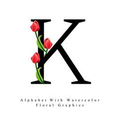 letter k watercolor floral background vector image