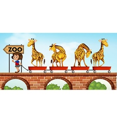Little girl pulling carts with giraffe to the zoo vector