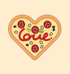 love for pizza heart shape concept design vector image