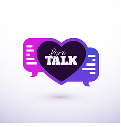 love talk chat dating heart shape in message vector image