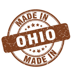made in ohio brown grunge round stamp vector image
