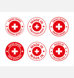 made in switzerland labels set swiss product vector image
