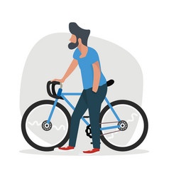 man walk with a bicycle vector image