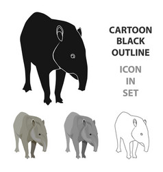 Mexican tapir icon in cartoon style isolated on vector
