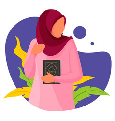 Muslim girl with holding holy quran books vector