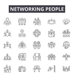 networking people line icons signs set vector image