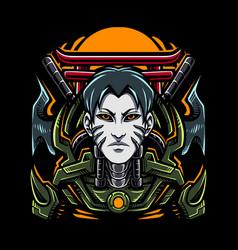 ninja cyborg esport mascot logo vector image