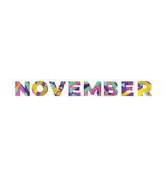 November concept retro colorful word art vector