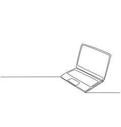 one continuous line drawing thin laptop vector image