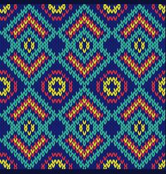 Ornate ethnic knitting motley seamless pattern vector