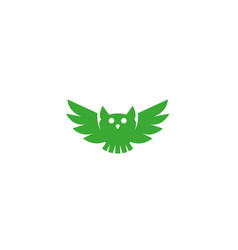 owl open wings and fly logo design green vector image