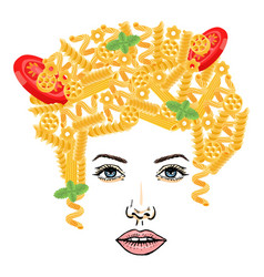 Pasta hairstyle spaghetti girl at white vector
