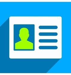 Patient Account Flat Square Icon with Long Shadow vector